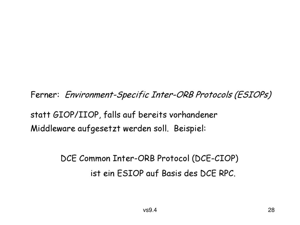 Ferner: Environment-Specific Inter-ORB Protocols (ESIOPs)