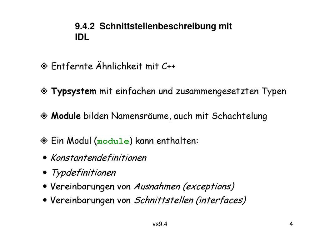 9.4.2 Schnittstellenbeschreibung mit IDL