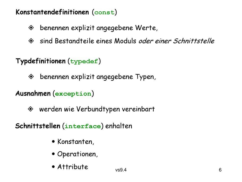 Konstantendefinitionen (const)