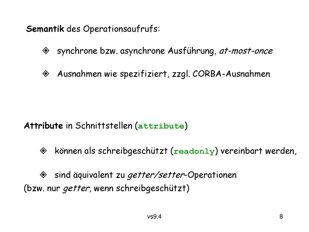 Semantik des Operationsaufrufs: