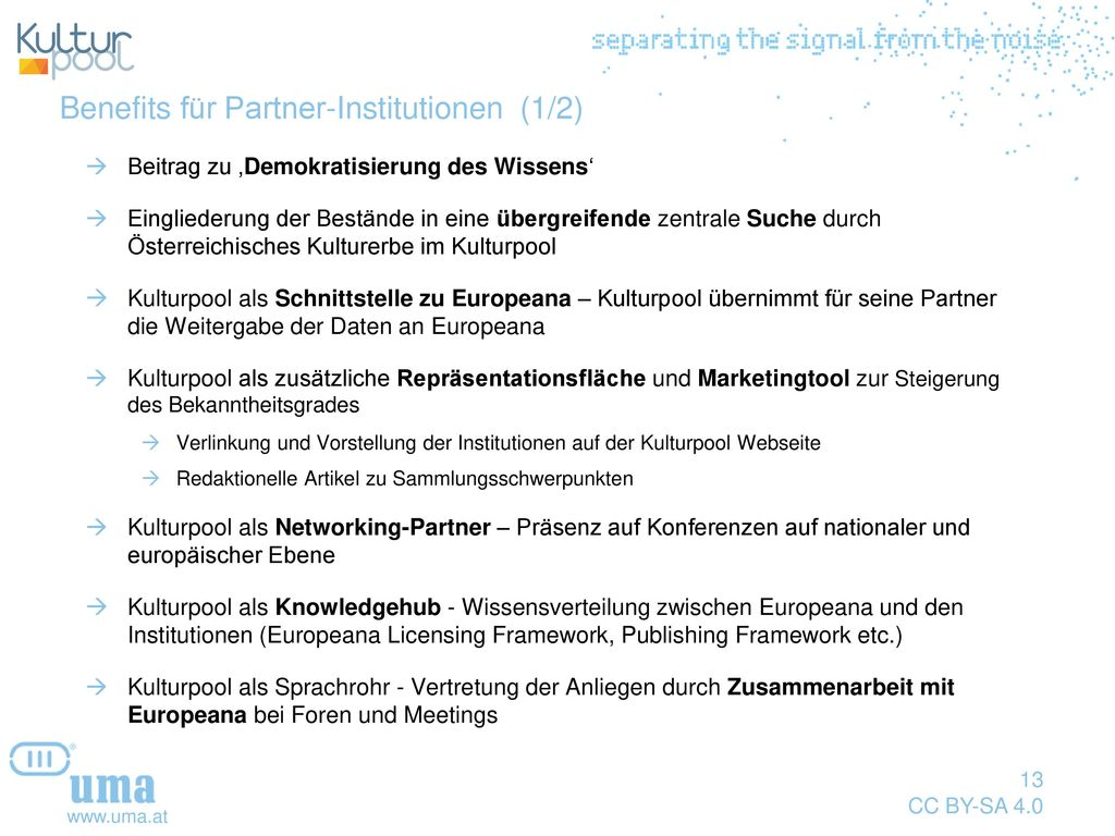 Benefits für Partner-Institutionen (1/2)