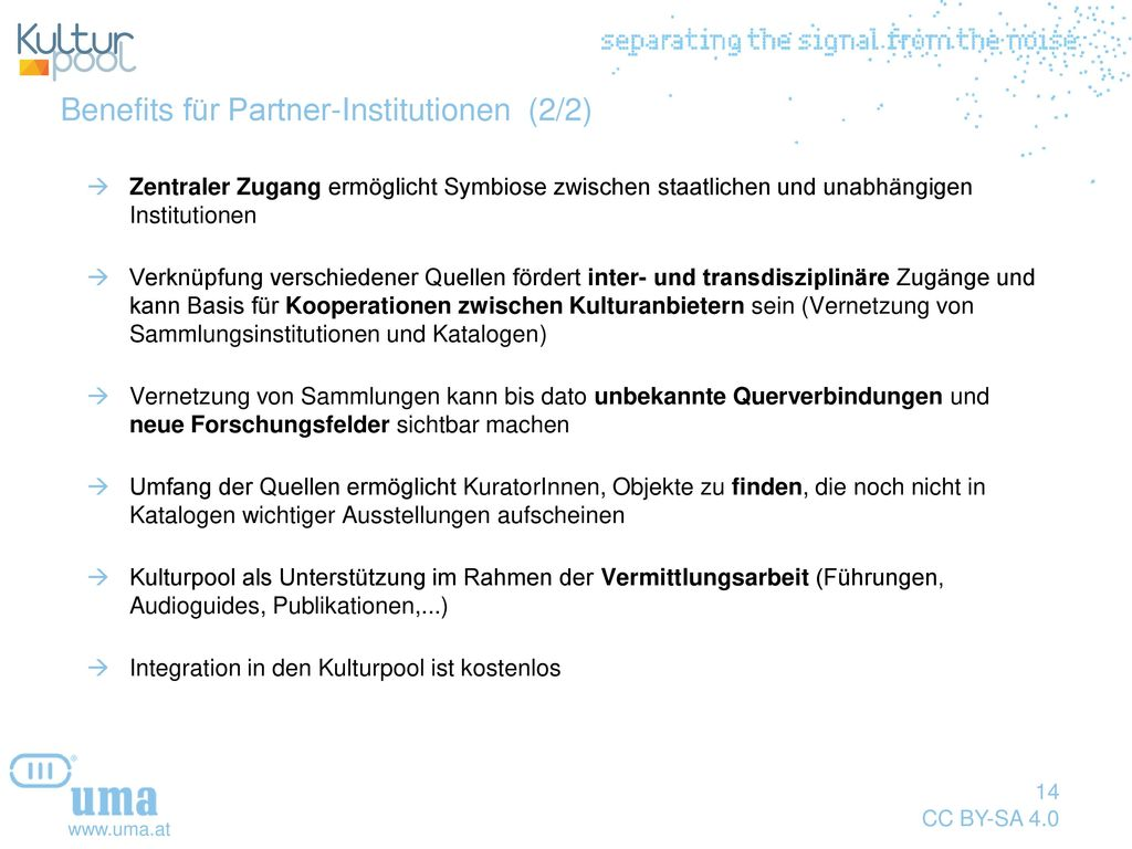 Benefits für Partner-Institutionen (2/2)