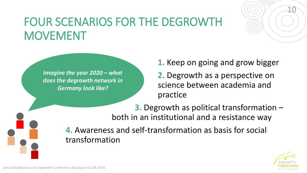 FOUR SCENARIOS FOR THE DEGROWTH MOVEMENT