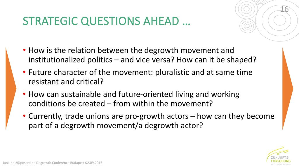 STRATEGIC QUESTIONS AHEAD …