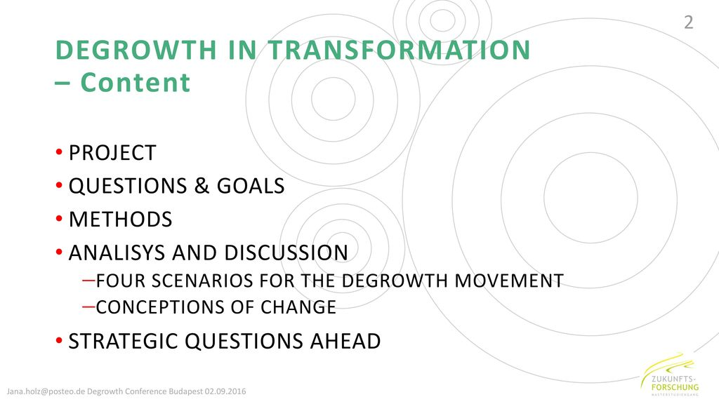DEGROWTH IN TRANSFORMATION – Content