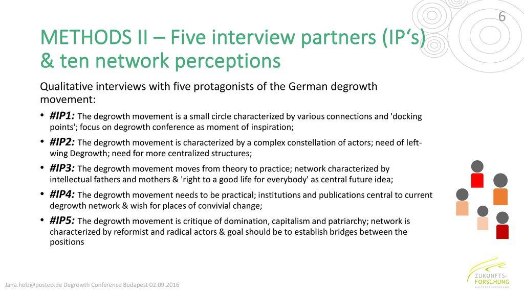 METHODS II – Five interview partners (IP's) & ten network perceptions