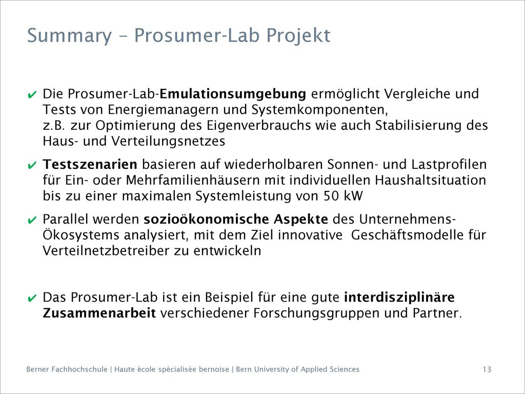 Summary – Prosumer-Lab Projekt