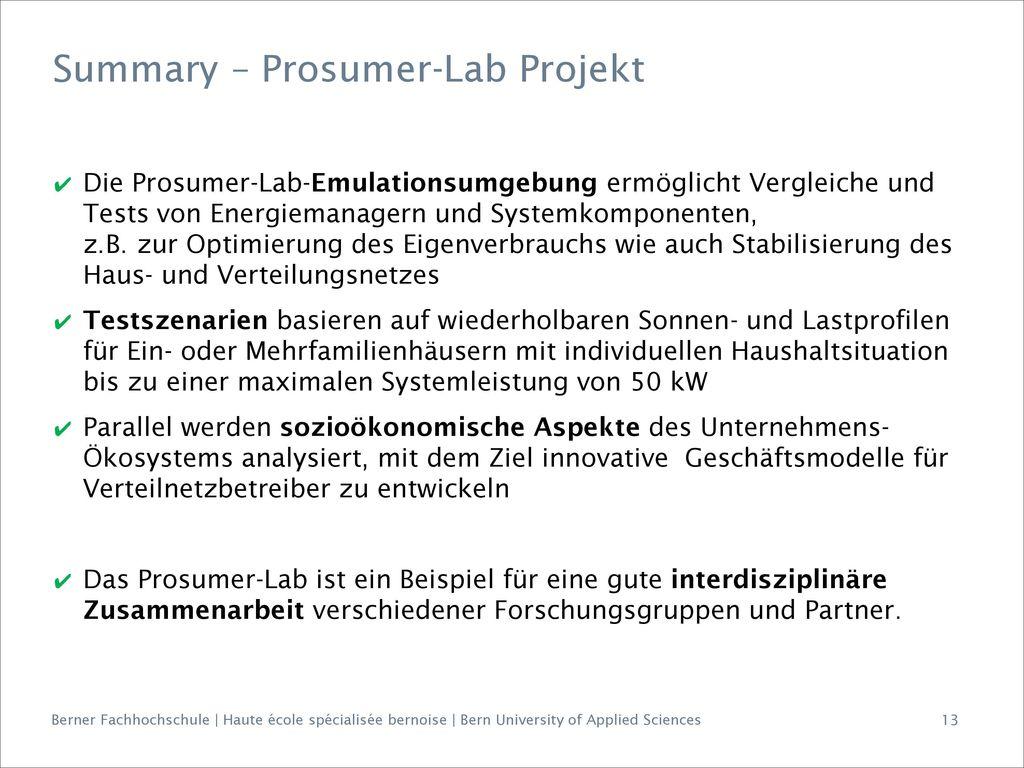 Summary – Prosumer-Lab Projekt