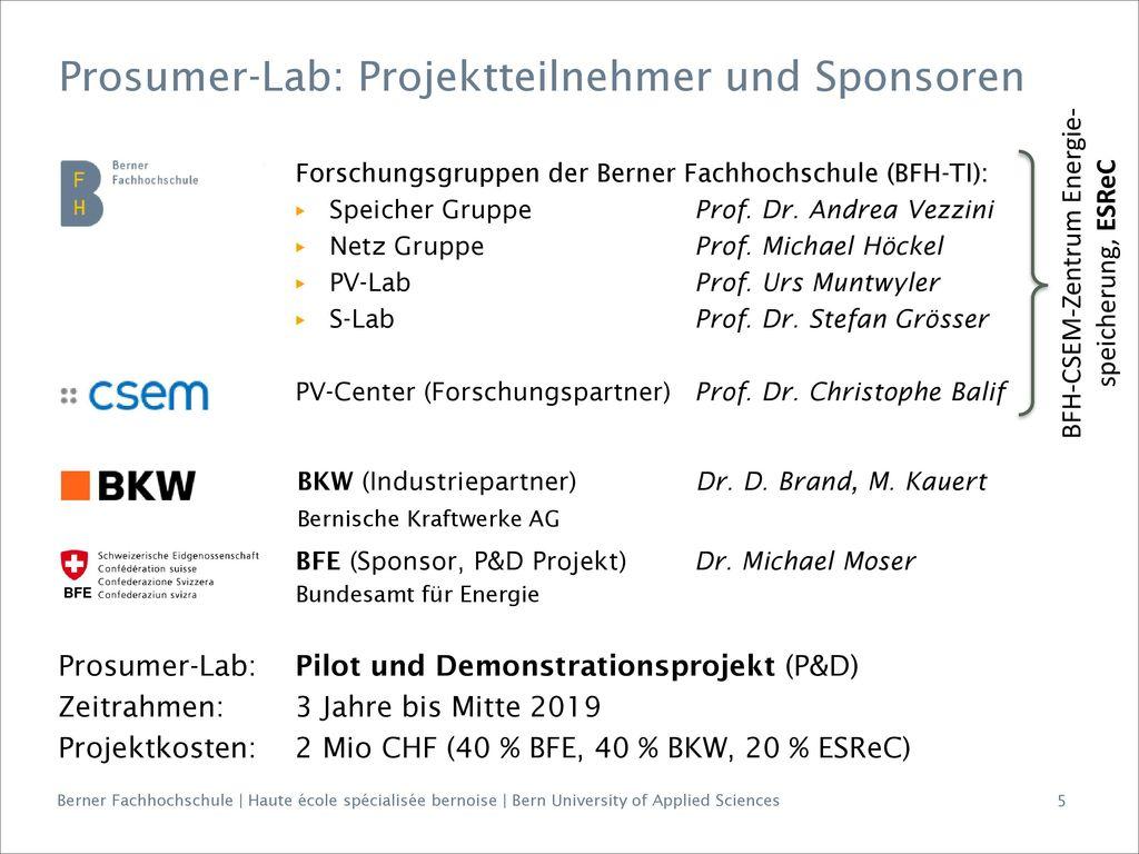 Prosumer-Lab: Projektteilnehmer und Sponsoren