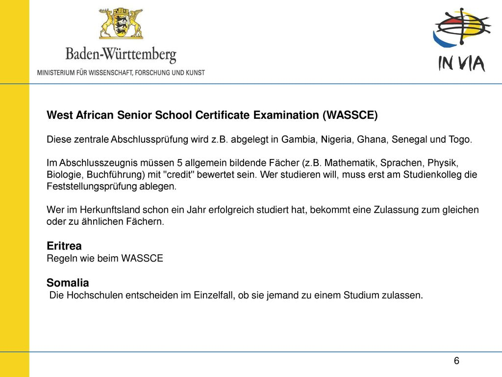 West African Senior School Certificate Examination (WASSCE)
