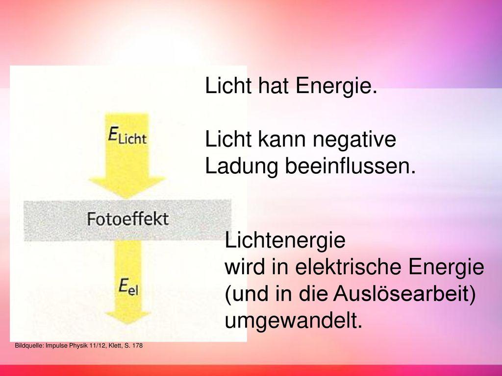 Licht hat Energie. Licht kann negative Ladung beeinflussen.