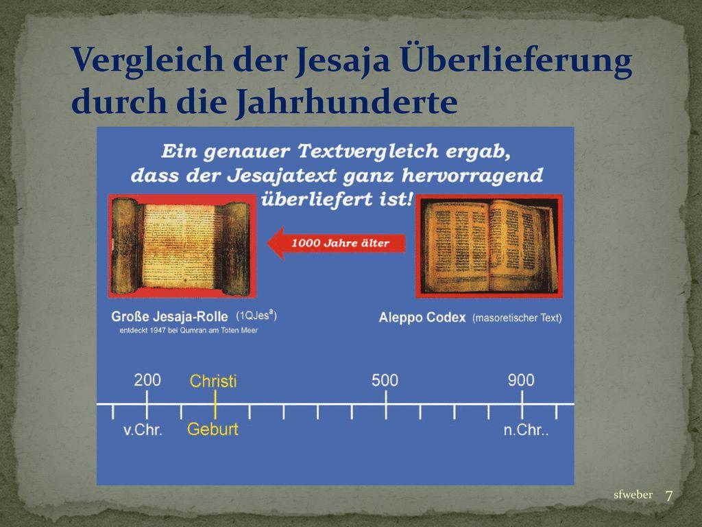 Vergleich der Jesaja Überlieferung durch die Jahrhunderte