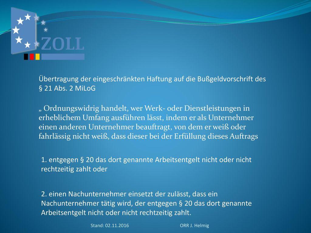 Übertragung der eingeschränkten Haftung auf die Bußgeldvorschrift des § 21 Abs. 2 MiLoG