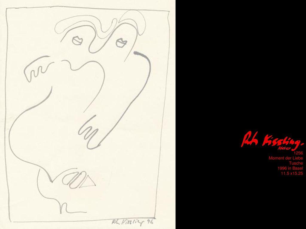 1256 Moment der Liebe Tusche 1996 in Basel 11.5 x15.25