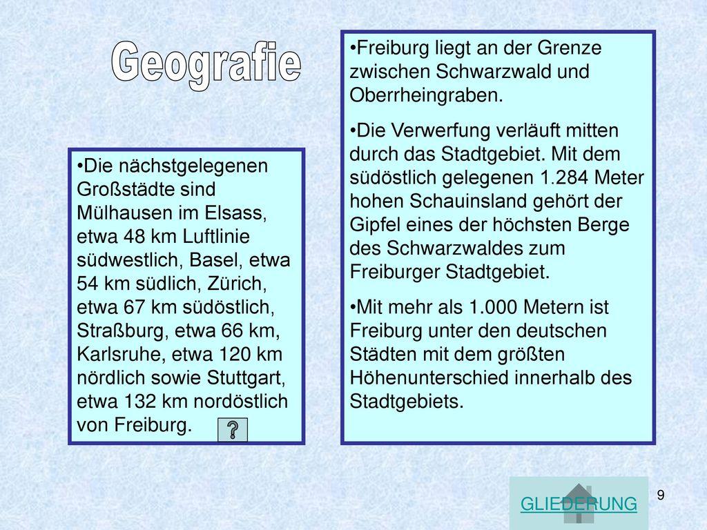 Freiburg liegt an der Grenze zwischen Schwarzwald und Oberrheingraben.