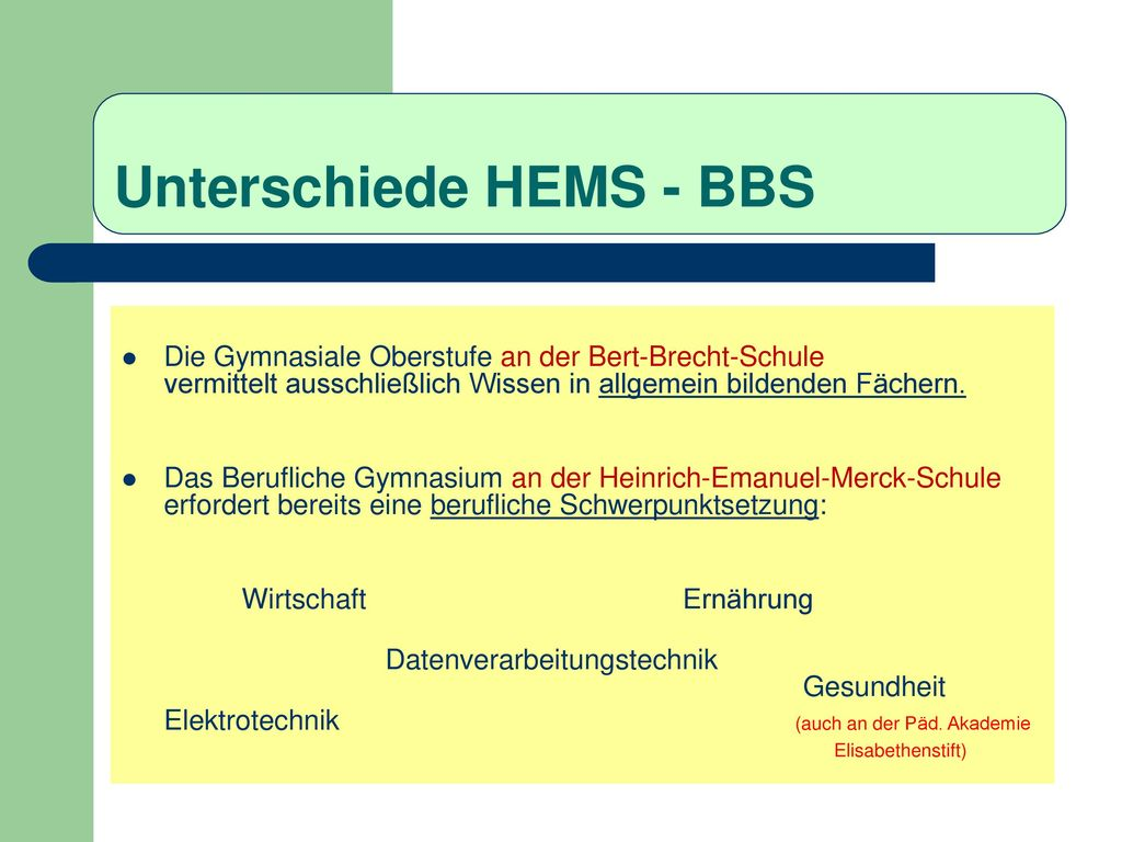 Unterschiede HEMS - BBS