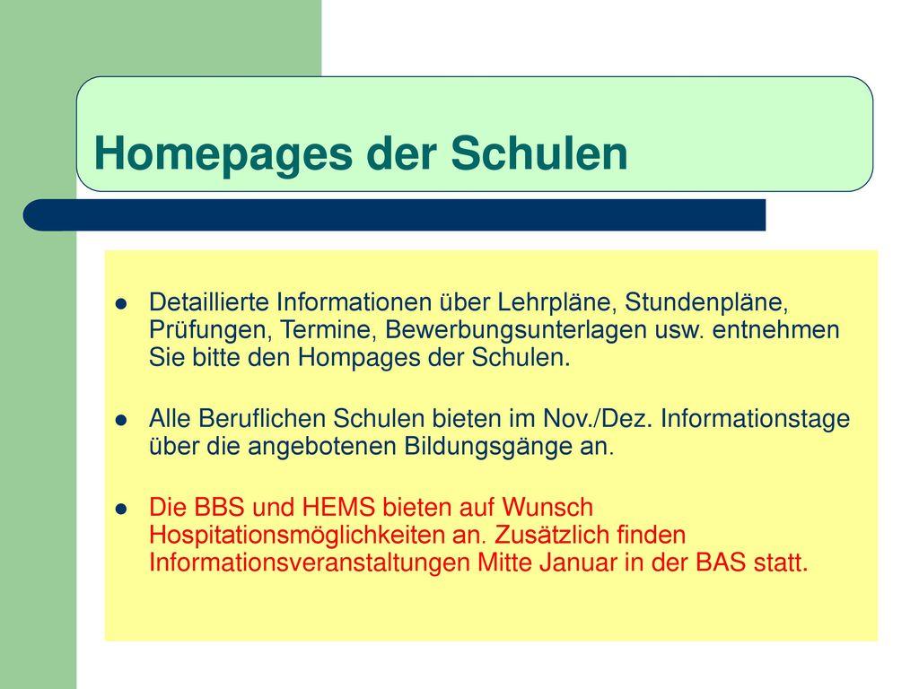 Homepages der Schulen