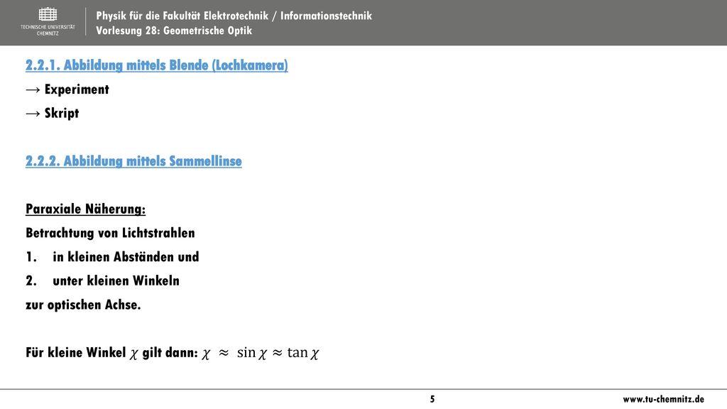 2.2.1. Abbildung mittels Blende (Lochkamera)