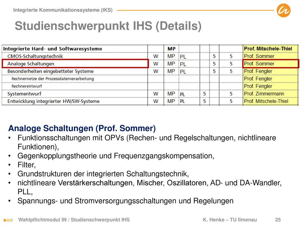 Studienschwerpunkt IHS (Details)