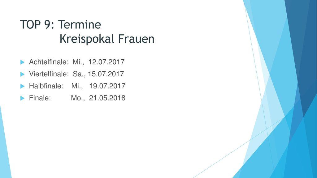 TOP 9: Termine Kreispokal Frauen