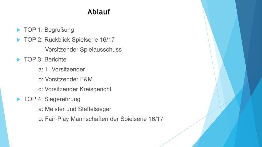 Ablauf TOP 1: Begrüßung TOP 2: Rückblick Spielserie 16/17