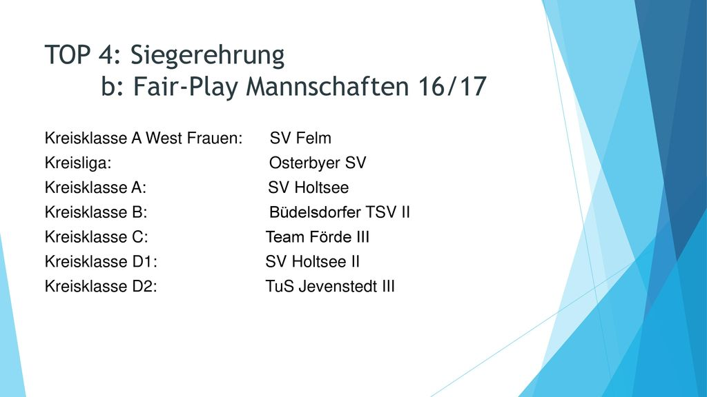 TOP 4: Siegerehrung b: Fair-Play Mannschaften 16/17