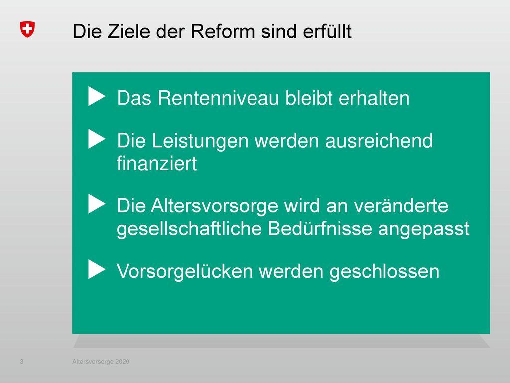 Die Ziele der Reform sind erfüllt