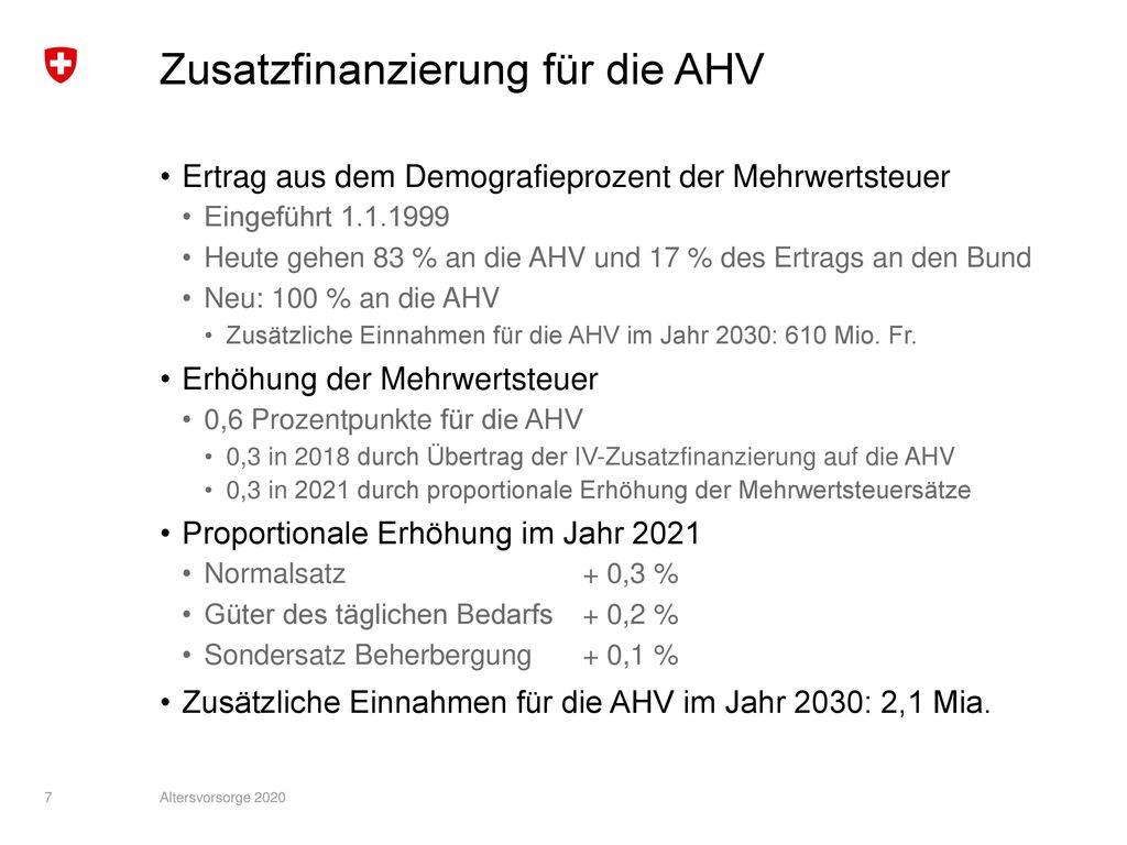 Zusatzfinanzierung für die AHV