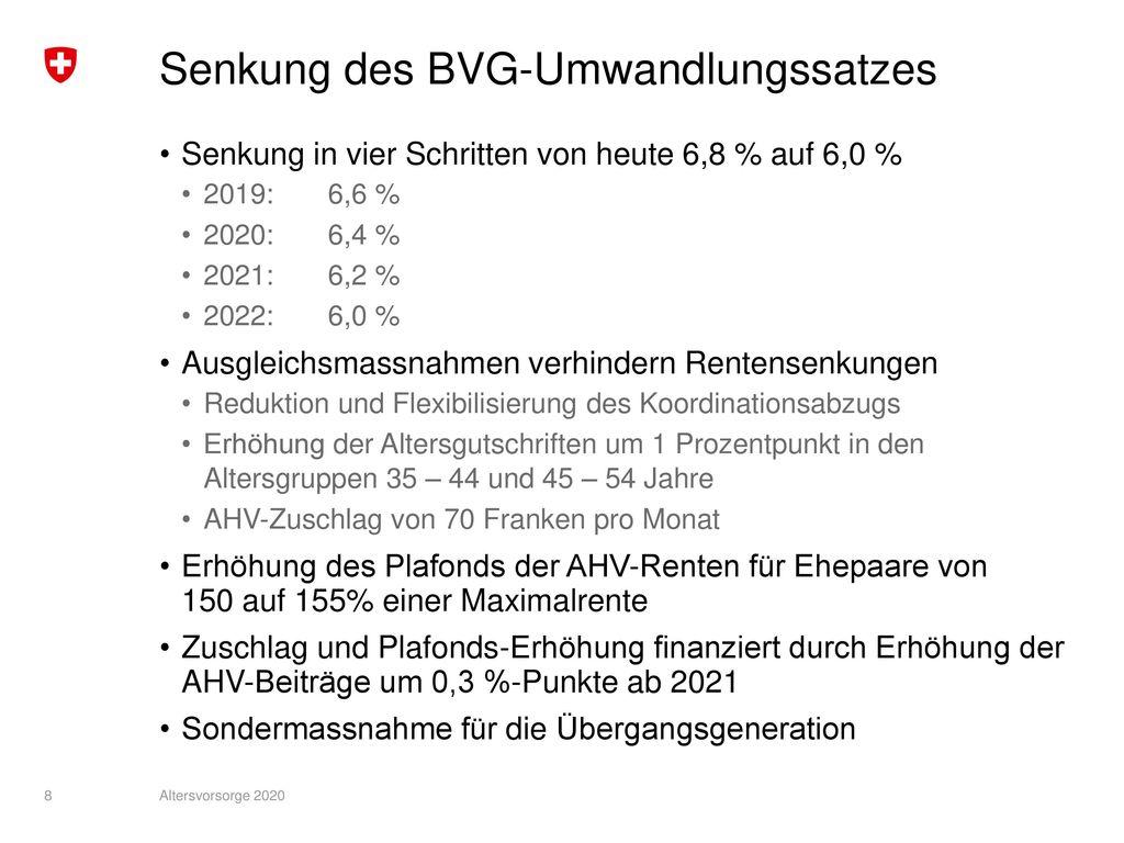 Senkung des BVG-Umwandlungssatzes