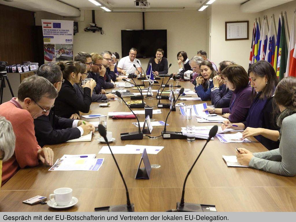 Gespräch mit der EU-Botschafterin und Vertretern der lokalen EU-Delegation.
