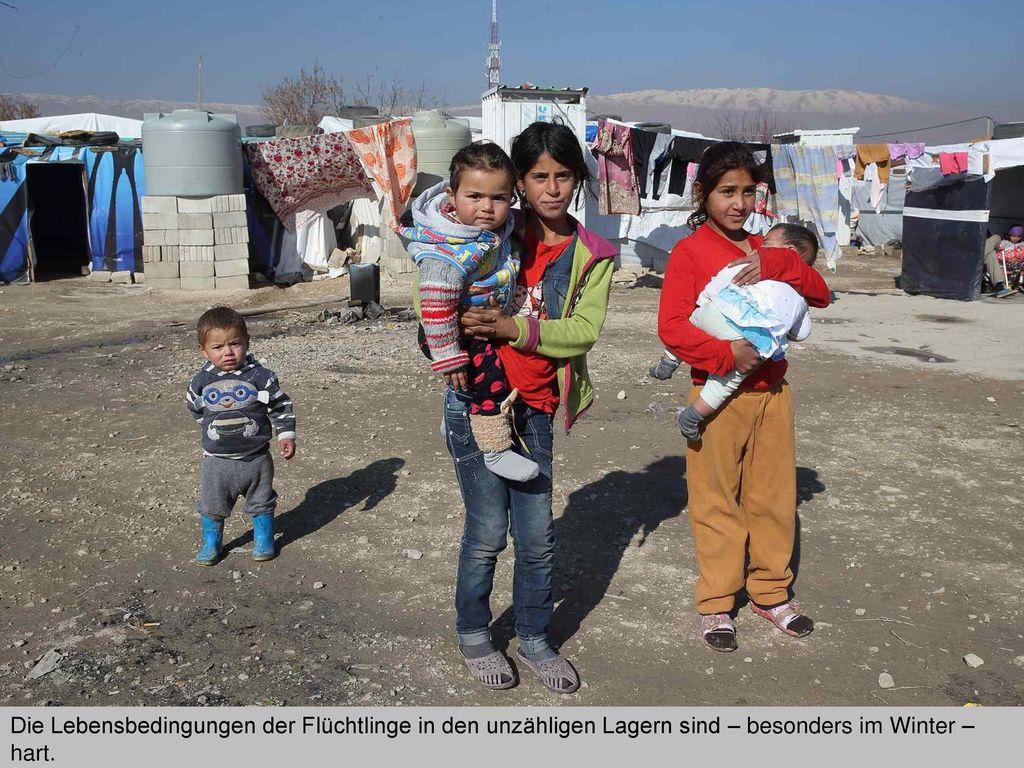 Die Lebensbedingungen der Flüchtlinge in den unzähligen Lagern sind – besonders im Winter – hart.