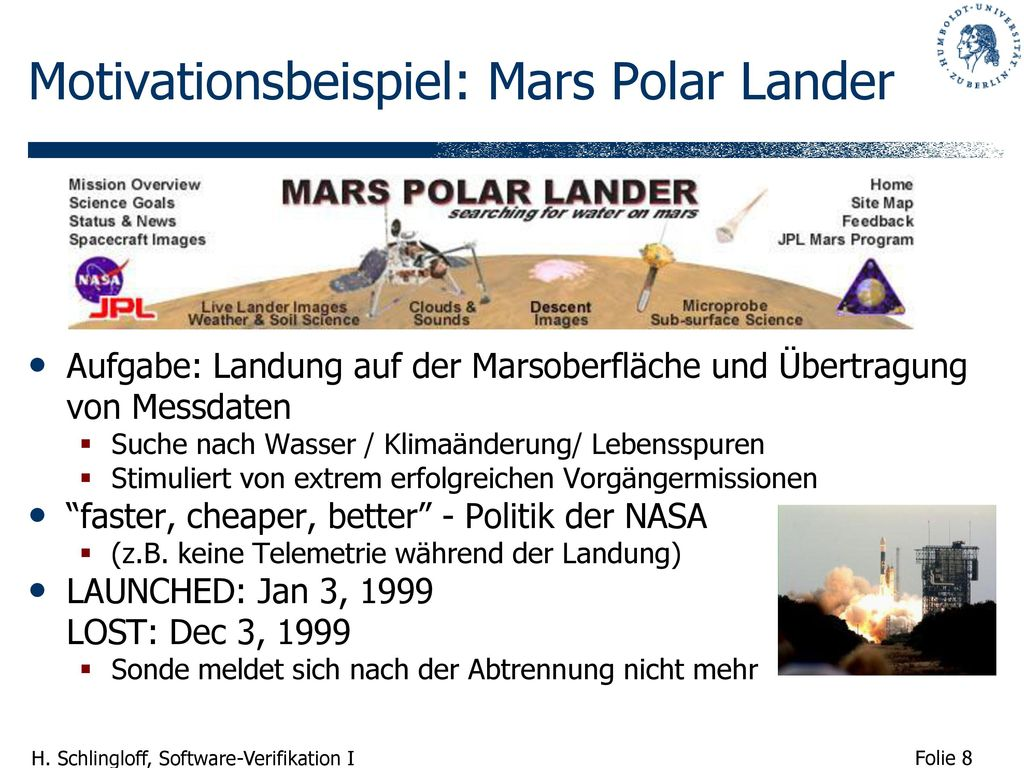 Motivationsbeispiel: Mars Polar Lander
