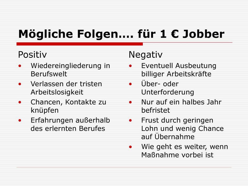 Mögliche Folgen…. für 1 € Jobber