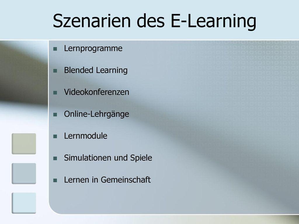 Szenarien des E-Learning