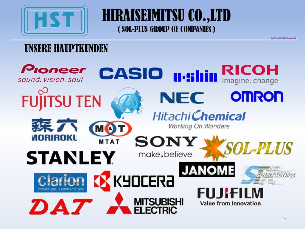 HIRAISEIMITSU CO.,LTD UNSERE HAUPTKUNDEN