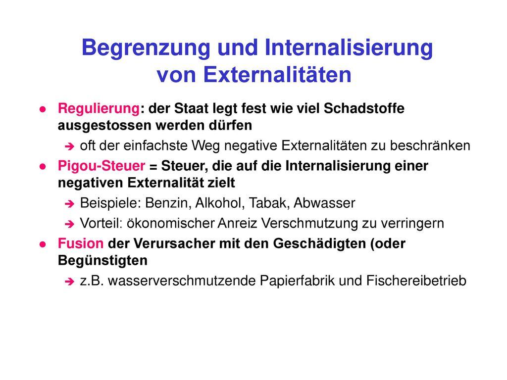 Begrenzung und Internalisierung von Externalitäten