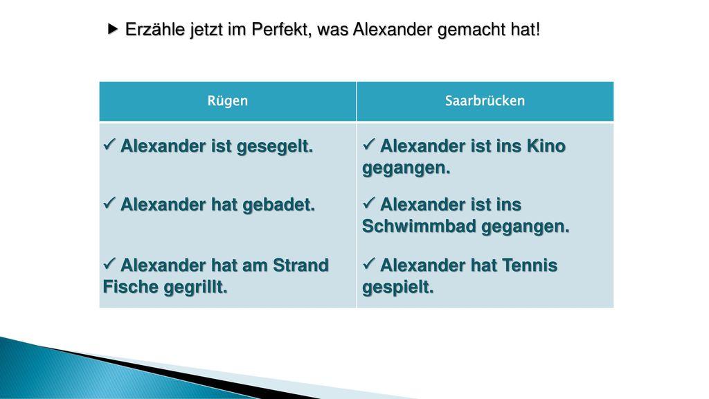  Erzähle jetzt im Perfekt, was Alexander gemacht hat!
