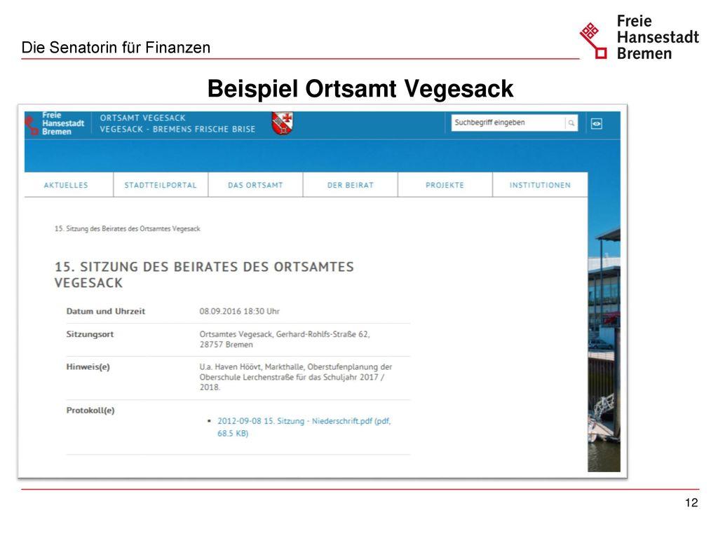 Beispiel Ortsamt Vegesack: Sitzungsdaten