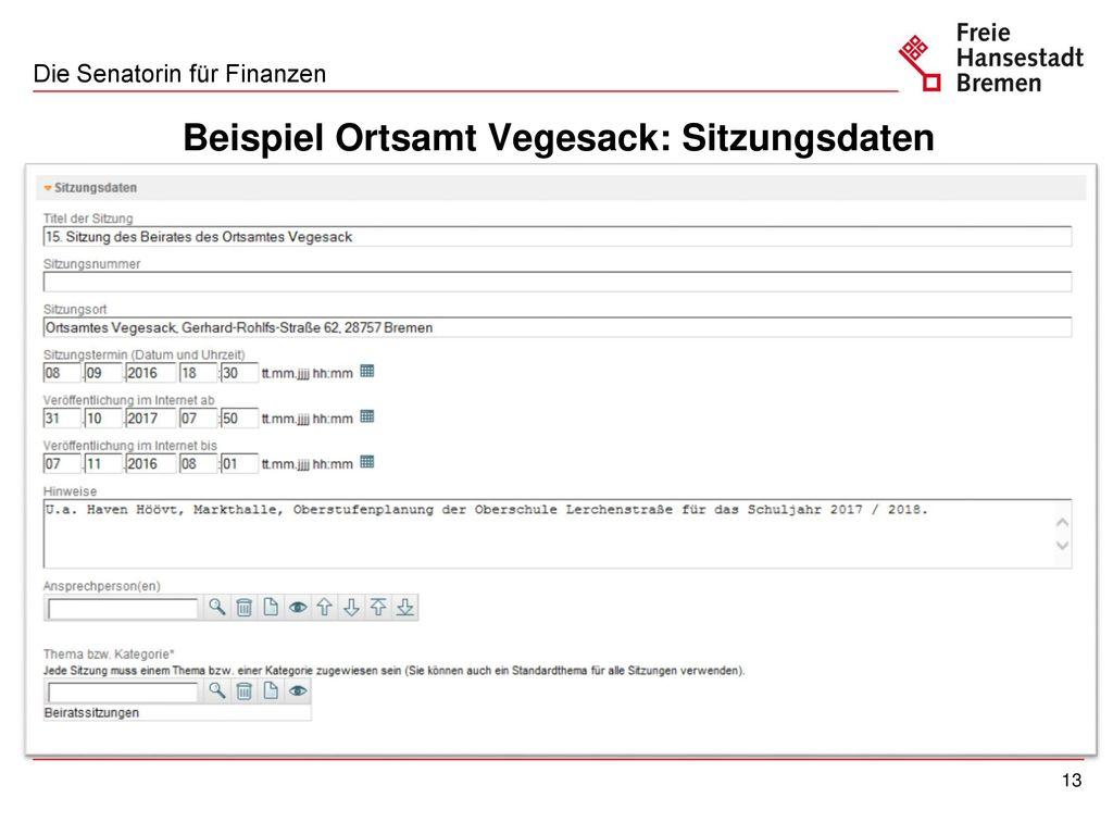 Beispiel Ortsamt Vegesack: Anlagen