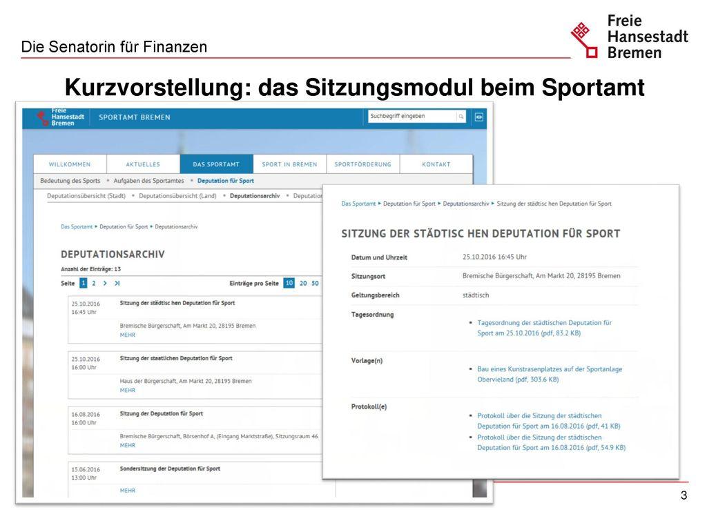Kurzvorstellung: das Sitzungsmodul beim Sportamt