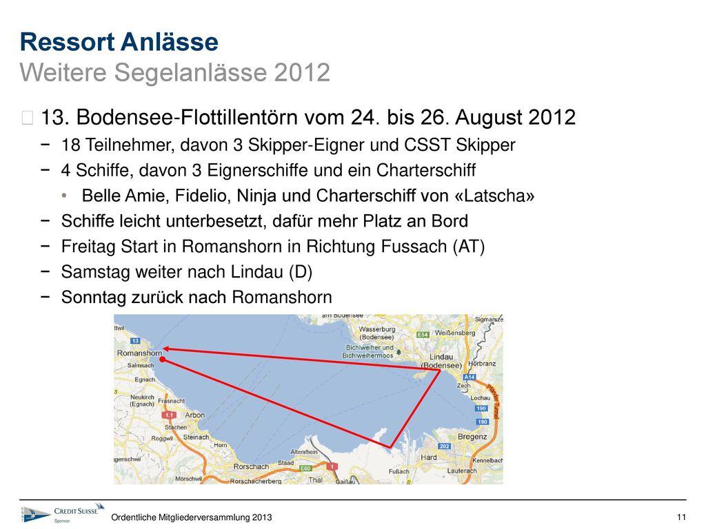 Ressort Anlässe Weitere Segelanlässe 2012