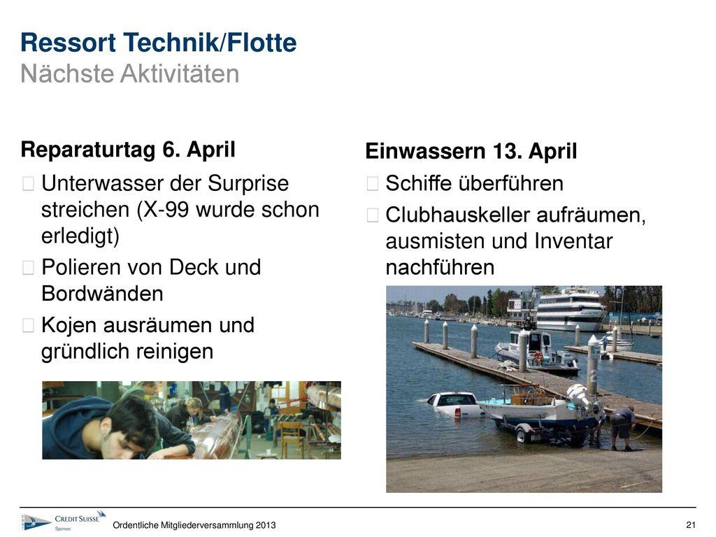 Ressort Technik/Flotte Nächste Aktivitäten