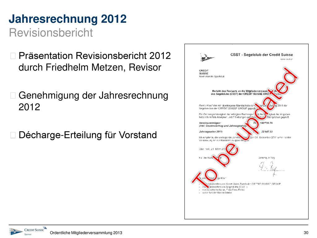Jahresrechnung 2012 Revisionsbericht