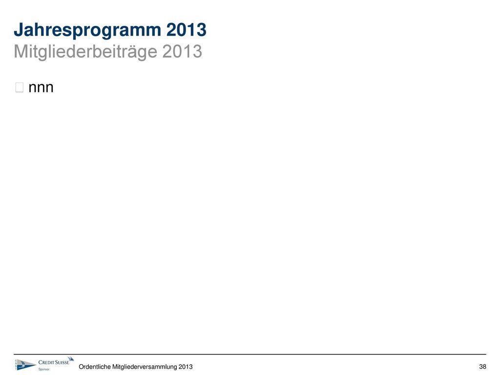 Jahresprogramm 2013 Mitgliederbeiträge 2013