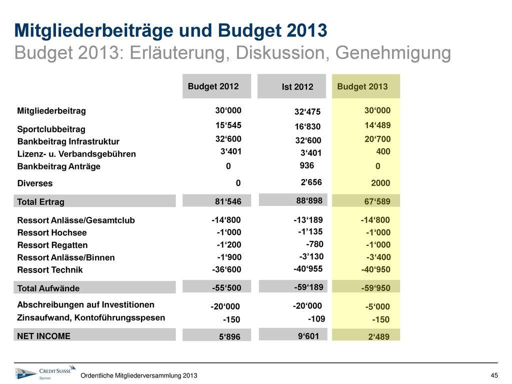 Mitgliederbeiträge und Budget 2013 Budget 2013: Erläuterung, Diskussion, Genehmigung