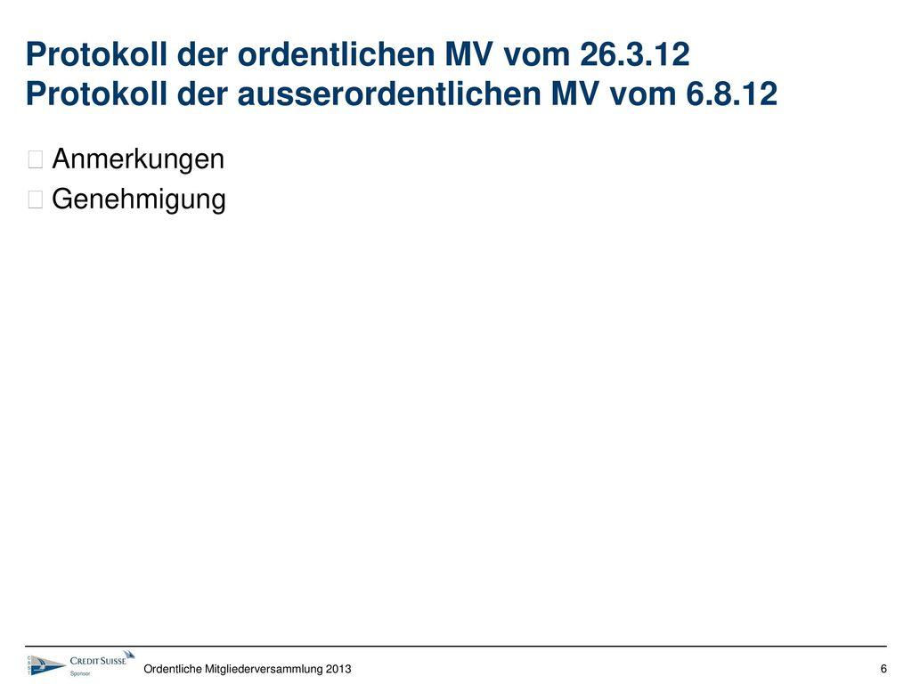 Protokoll der ordentlichen MV vom 26. 3