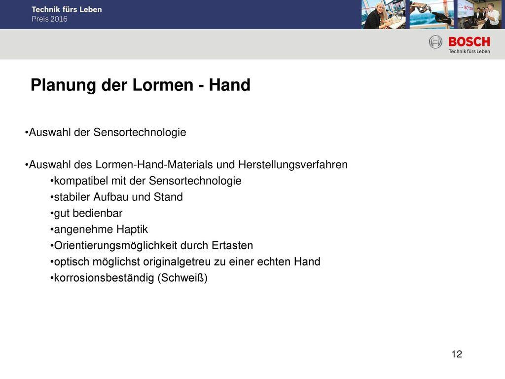 Planung der Lormen - Hand
