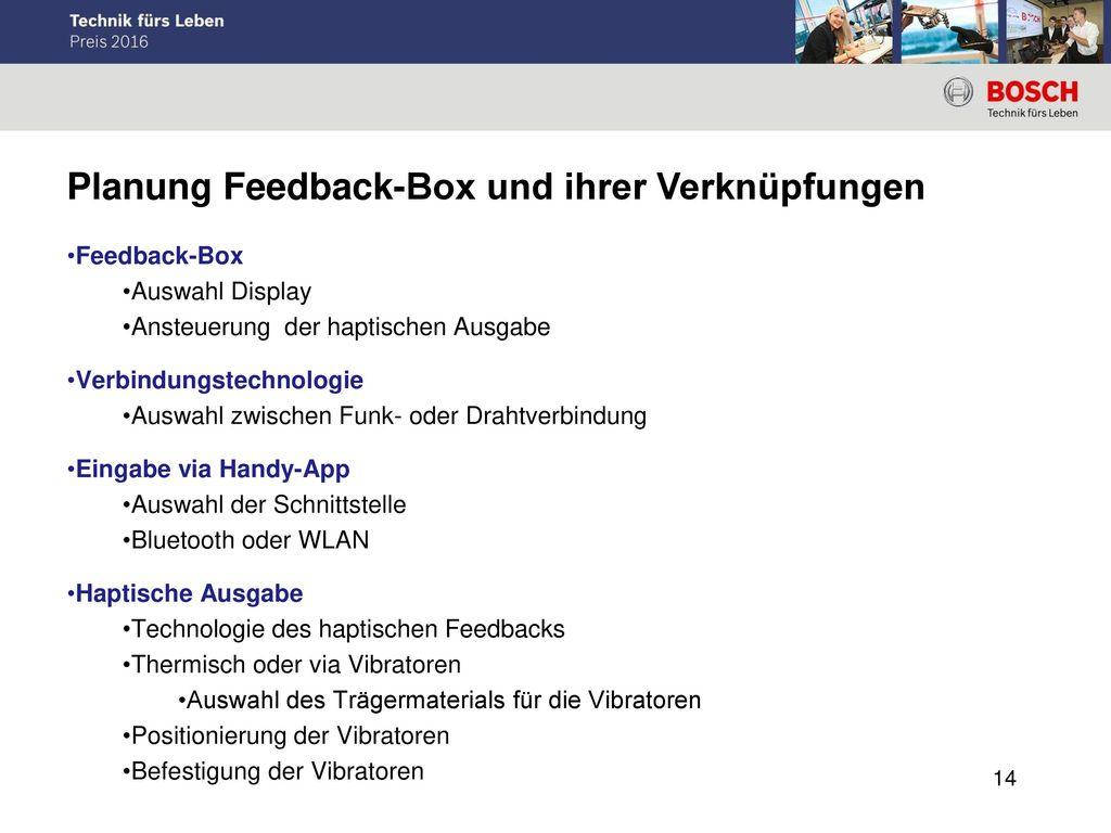 Planung Feedback-Box und ihrer Verknüpfungen
