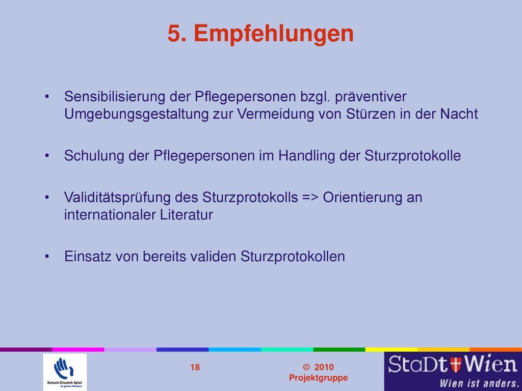 Problemstellung 5. Empfehlungen. Sensibilisierung der Pflegepersonen bzgl. präventiver Umgebungsgestaltung zur Vermeidung von Stürzen in der Nacht.