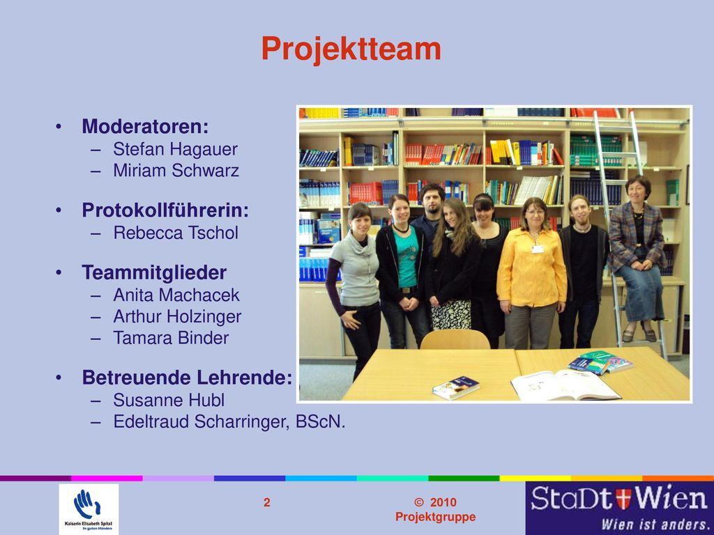 Projektteam Moderatoren: Protokollführerin: Teammitglieder